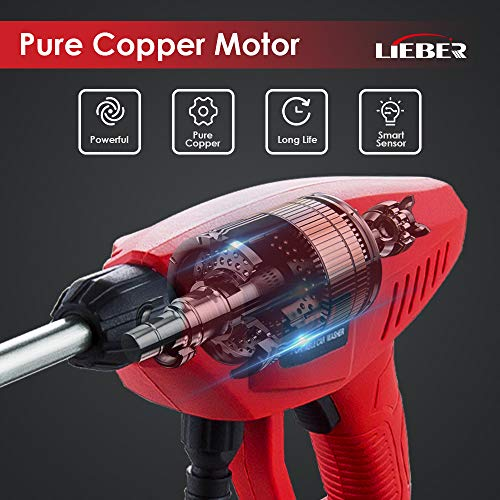 Battery Powered Pressure Washer, Lieber 21V Cordless Portable Power Cleaner 3Ah 410 PSI/ 2800KPA Power Washer Electric Pressure Washer for Car, RVs Boats or Home Projects - 6 in 1 Nozzle (Red)