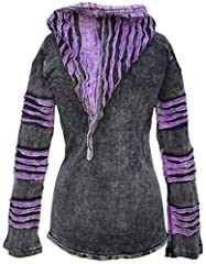 Gheri Women's Stonewashed Cotton Ribs Gothic Emo Funky Razor Cut Slashed Pointed Pixie Hood Jacket Hoodie Purple UK 10 #3