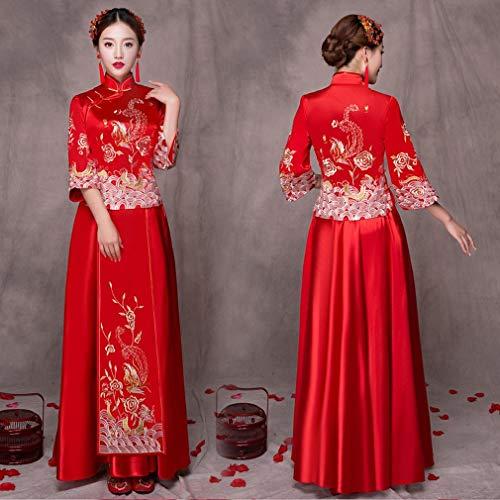 G-W Xiu Wo Bruid Vet Mm Grote Maat Zwangere Vrouwen Toast Hoge Taille Chinese Bruidsjurk Rood Cheongsam, a, XXL