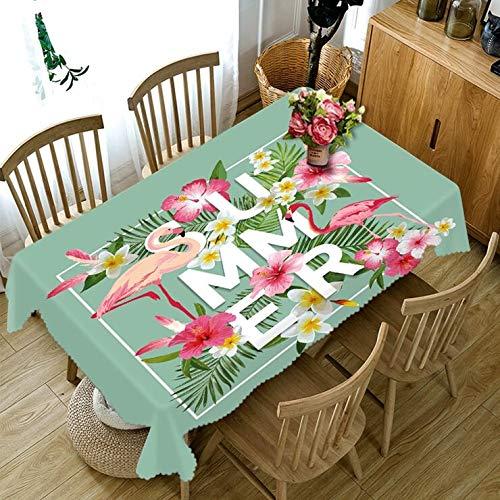 XXDD Mantel Rectangular 3D de Estilo nórdico con Estampado de flamencos y Plantas, Mantel Grueso Lavable para Boda A5 150x210cm