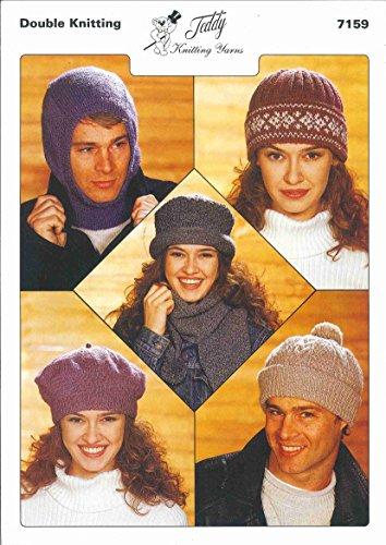 Patrón de tejido: pasamontañas de doble punto, sombreros y bufanda. Patrones para tejer pasamontañas, sombrero Fairisle, gorro y bufanda, boina y sombrero con cable.
