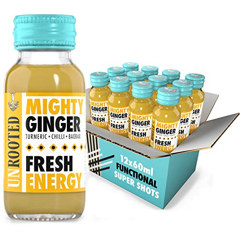 Unrooted - Healthy Energy Shot - Mighty Ginger - Fresh Energy - Turmeric , Chilli & Baobab - 12 x 60ml