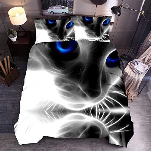 WJSWA Bedsure Cover Set. Bettwäsche-Sets Duvet-Cover Set2 / 3-teilig, 3D-Cat-Bettbezug und Kissenbezug 50x75cm mit Reißverschluss-Bettwäsche-Set (Cat 02, Single) (Color : Cat 01, Size : Single)