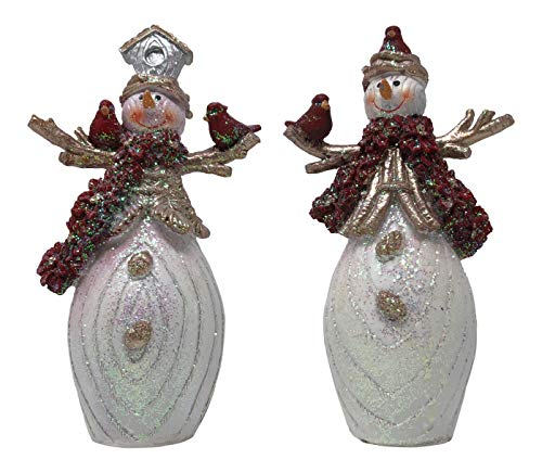 Hanna's Handiworks Set of 2 Red White and Poinsettia Snowman Tabletop Decorations for Winter Holidays with Gold Color Style Clothing and Stick Arms (Poinsettia Scarf Snowman Set Medium)