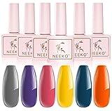 NEEKO Gel Nail Polish Set, 6 PCS Orange Yellow Blue Purple Pink Grey Spring Colors Nail Gel Polish, Soak Off UV LED Gel Nail Polish Kit Manicure Gift Box