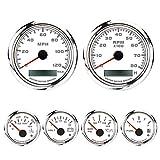 MOTOR METER RACING W Pro Series 6 Gauge Set GPS Speedometer(120 MPH) Programmable Tachometer(8000 RPM) Waterproof White Dial