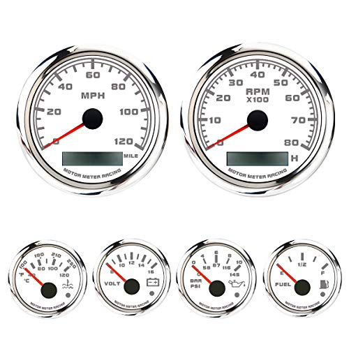 MOTOR METER RACING W Pro Series 6 Gauge Set with GPS Speedometer Programmable Waterproof White Dial All Sensors Included