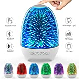 Aiscool Night Light Bluetooth Speaker 3D Glass Bedside Table Lamp Color LED Night Lamp Touch Control Rechargeable Portable (Galaxy Star Pattern)
