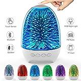 Aiscool Veilleuse Haut-parleur Lampe de Chevet Tactile Rechargeable LED Couleur Lampe de Table Enceinte Bluetooth (Motif ciel étoilé)
