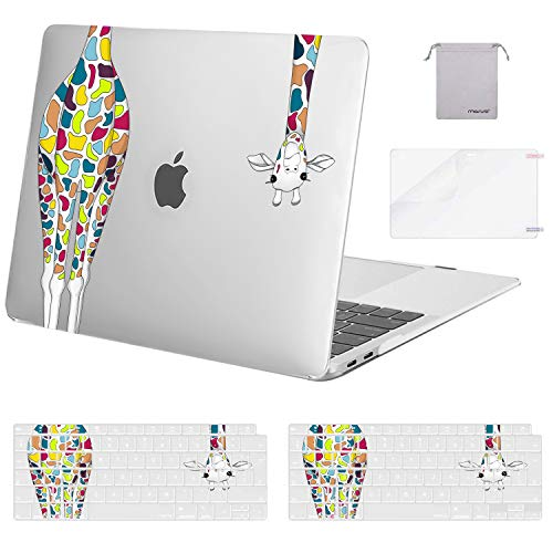 MOSISO MacBook Air 13 inch Case 2020 2019 2018 A2337 M1 A2179 A1932, Plastic Giraffe Hard Shell & Keyboard Cover & Screen Protector & Storage Bag Only Compatible with MacBook Air 13 Retina,Transparent