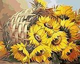 MYQF Lienzos para Pintar Canasta de Flores Girasol DIY Pintura Al Óleo Pintar por Numeros 40x50 Cm con Pinturas Acrílicas Y 3 Pinceles Decoracion De Pared Regalos
