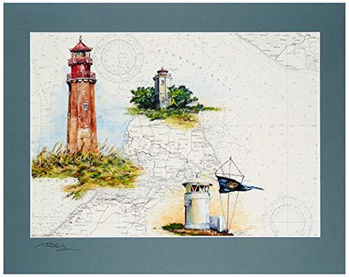 Kunstdruck Insel Fehmarn und die Leuchttürme Flügge, Westermarkelsdorf, Strukkamphuk mit original signiertem Passepartout Fotograu von Thomas Kubitz