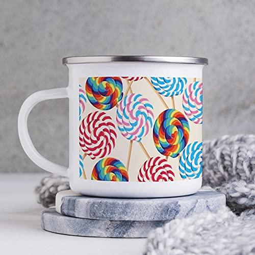 10 oz emaille mok, grappige koffiemok, snoep patroon grote lolly patroon, nieuwigheid koffiemok, koffiebeker, mok beker, voor beste vrienden, minnaar thuis, kantoor