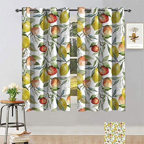 Nature Customized Curtains, Lemon and Orange Clementine Tree Branches Fruit Yummy Winter Season Vitamin Design Blackout Curtains for Kids Bedroom Nursery, 2Panels Each 31.5'W x 63'L Multicolor