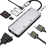 Hub USB C 2 HDMI, adattatore USB C 9 in 1 con doppio HDMI 4K, VGA, triplo display con supporto Windows, AUX 3,5 mm, USB C a USB 3.0, lettore di schede MicroSD, adattatore per MacBook Pro / Air