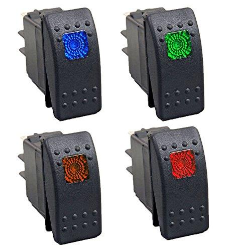 HOTSYSTEM 1 Rot+1 Orange+1 Gr¨¹n+1 Blau 12V Wasserdicht Auto KFZ Schalter Wippschalter EIN/Ausschalter LED Beleuchtet