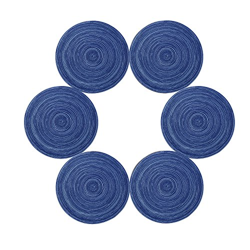U'Artlines Juego de 6 manteles Individuales de Hilo de Algodón Trenzado 35cm Redondo(6,Azul)
