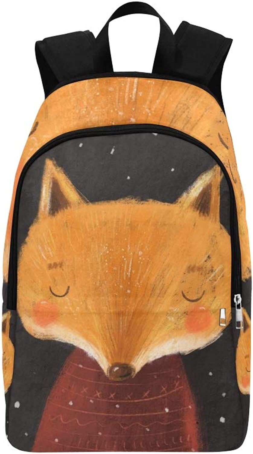 Christmas Cartoon Animals Character Winter Fox Casual Daypack Travel Bag College School Backpack for Mens and Women
