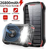 26800mAH Portable Power Bank Solar Charger, Qi Wireless Solar Charger Rainproof Tough Battery