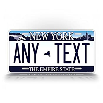 SignsAndTagsOnline Custom New York Auto Tag Any Text Personalized NY License Plate Aluminum Metal Empire State Blue