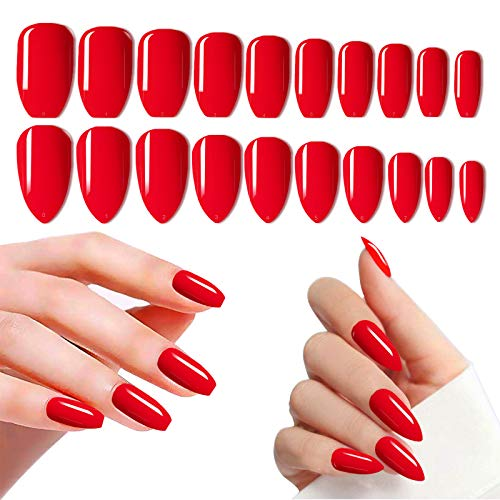 Red Nails Press On, 480PCS Cosics 2IN1 Glossy Pre-colored Fake Nails Ballerina Coffin & Almond Shape Medium Length, Solid Acrylic False Nail Art Extension Tips for Women Salon with Storage Box