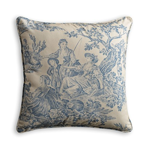 Maison d' Hermine Miller 100% Cotton Toile Decorative Pillow Cover for Couch Sofa Cushion Covers Bedroom (Blue, 18 Inch by 18 Inch)