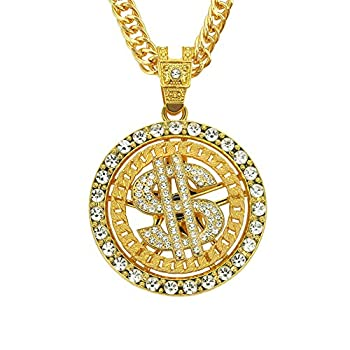 lureme Gold/Silver Chain for Men with Dollar Sign Pendant Necklace Hip Hop Dollar Necklace  nl006266-2