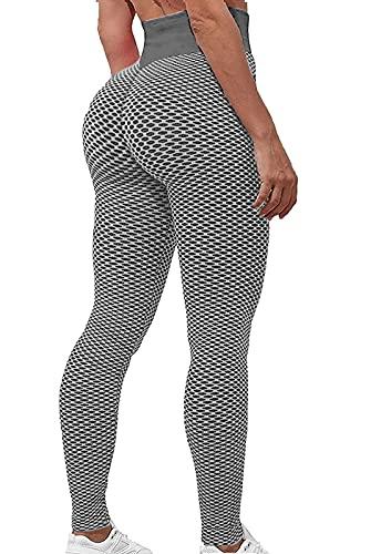 FITTOO Leggings Mallas Mujer Pantalones Deportivos Yoga Alta Cintura Elásticos y Transpirables Gris Extra Grande