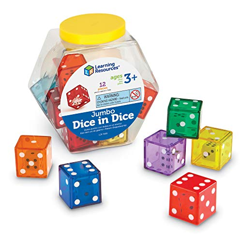 Learning Resources Jumbo Dice in Dice, Dice, Jumbo Dice, Math Dice, Ages 3+, Set of 12
