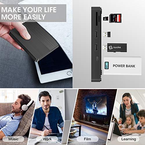 DVD Brenner extern, SAWAKE DVD Laufwerk extern USB-A& USB C, DVD Player für Laptop, Desktop, Mac, MacBook, Win10/8/7/XP, Linux, MacOS, Vista, CD Laufwerk mit 5 Ports (2 USB-A, Micro USB, SD, TF)