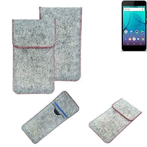 K-S-Trade® Handy Schutz Hülle Für Allview P7 Lite Schutzhülle Handyhülle Filztasche Pouch Tasche Hülle Sleeve Filzhülle Hellgrau Roter Rand