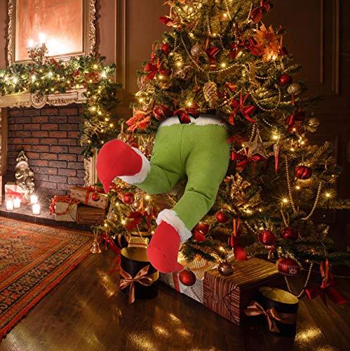 Tomsi Christmas Decorations 15.7'' Thief Stole Christmas Grinch Burlap Plush Legs for Xmas Tree Wreaths Garland Decor (Legs, 15.7'')