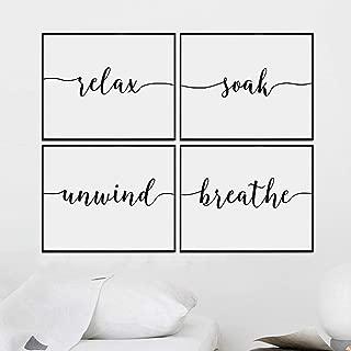 Set of 4 Prints, Relax Soak Unwind Breathe Wall Art Bathroom Decor Bathroom Quotes 8x10 inch Unframed