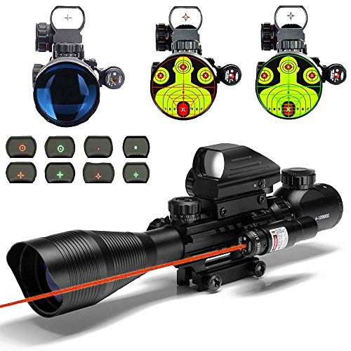 THEA C4-12X50 Scope Dual Illuminated Reticle w/Red Laser Sight and 4 Tactical Holographic Dot Reflex Sight (12 Month Warranty) (Red)