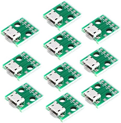 HiLetgo 10pcs Micro USB to DIP Adapter 5pin Female Connector B Type PCB Converter pinboard product image
