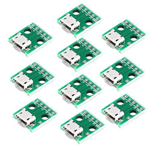 HiLetgo 10pcs Micro USB to DIP アダプタ5ピンメスコネクタBタイプPCBコンバータピンボード [並行輸入品]