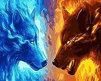 油絵 数字キットによる デジタル インテリア キャンバスの油絵子供 ホーム オフィス装飾 40x50センチ-氷火狼_額装