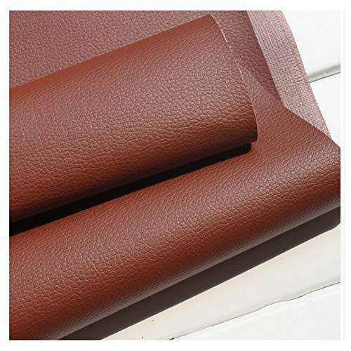 DIY Kunstleder Lederimitat Lederstoff Polsterstoff Möbelstoff Meterware Bezugsstoff - PVC Kunstleder Rindsleder Optik Stoff Grau, Brown (Multiple Größen) (Size : 1.38×2m)