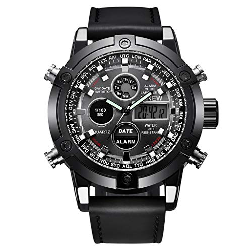 LXMJ-XINEW Watch Men s Electronic Watch Belt Double Display Sports Watch Father s Day Birthday Wedding Holiday Best Gift Black