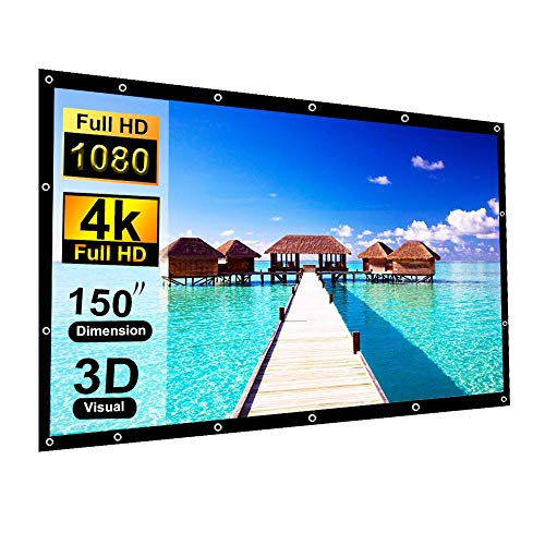 150 Inch Projection Screen Blibro 16:9 HD Foldable Anti-Crease Video Screen Portable Indoor Outdoor Projector Movies Screen for Home Theater Support Double Sided Projection 4K 3D