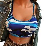 iHENGH Damen Frauen Camouflage Ärmelloses Trägershirt Bustier BH Weste Crop Top Bluse T-Shirt(M,Blau)