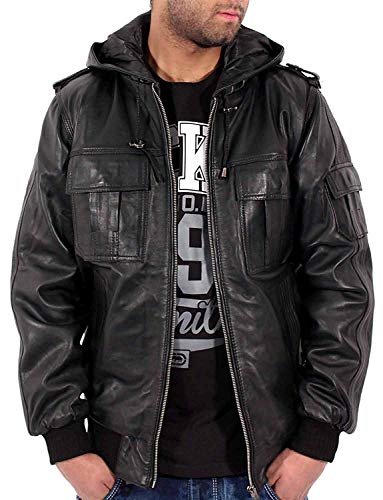 Aviatrix Chaqueta con capucha para hombre de piel de oveja negra de piel suave de corte delgado