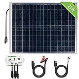 ECO-WORTHY Sistema fotovoltaico 12V 25W: pannello solare pannello fotovoltaico policristallino da 25W, regolatore di carica multiuso da 3A 12V / 24V, cavo con pinze da 30A e cavo con anello terminale