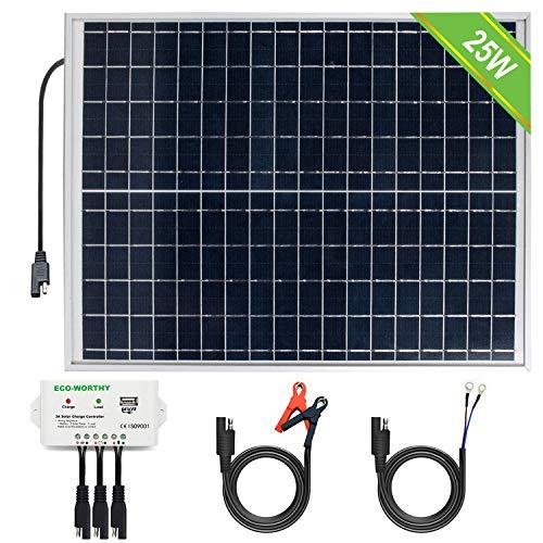 ECO-WORTHY Sistema fotovoltaico 12V 25W: pannello fotovoltaico policristallino 1pc 25W con 3 fili e clip batteria 30A con cavo di prolunga da 6 piedi e modulo solare 3A 12V / 24V