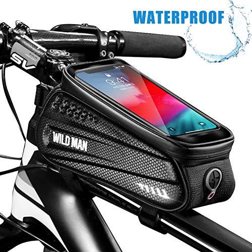 SKYSPER Borsa Telaio Bici, Borsa da Bici Anteriore Touch Screen Grande capacità e Impermeabile con Cavo Cuffie 360° per iPhone Samsung Smartphone Fino a 6.5 inch MTB Bici da Città
