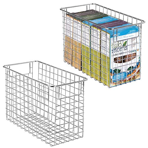 mDesign Household Metal Wire Storage Organizer Bins Basket with Handles for Kitchen Cabinets, Pantry, Bathroom, Landry Room, Closets, Garage - 2 Pack, 12