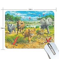 マウスパッド アフリカの動物の子供 ゲーミングマウスパッド 滑り止め 19 X 25 厚い 耐久性に優れ おしゃれ