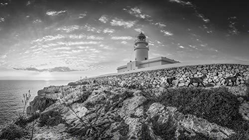Voss Fine Art Photography Isla Menorca al amanecer en el faro Cavalleria. Imagen en blanco y negro., Vidrio acrílico sobre soporte Dibond, 150 x 84 cm