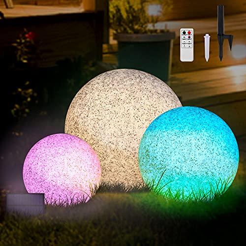 Lampada da Esterno in Marmo a Sfera ad Energia Solare, P54 LED Impermeabile che Cambia Colore con Telecomando, Lampada a Globo Senza Fili Ricaricabile Solare per Giardino, Patio (20cm)