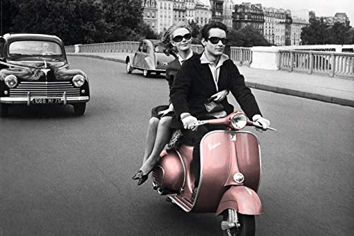 Paris, 1964 Pink Vespa Travel Photo Poster (24 x 36 inches)